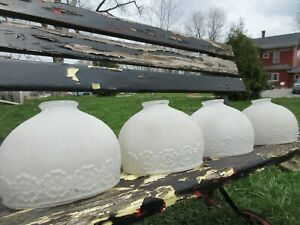 Vtg Lot Of 4 1920s 1930s Glass Lamp Shades Set Salvage Ceiling Light Fixture