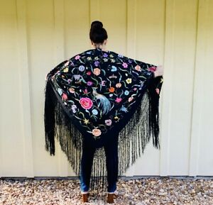 Antique 1920s Art Deco Silk Embroidered Crochet Fringe Piano Shawl Wrap Tapestry
