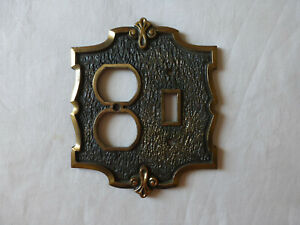 Vintage Metal Switch Plate Outlet Cover Combination