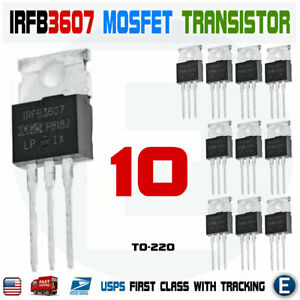 10pcs Irfb3607pbf Irfb3607 Mosfet N channel 75v 80a To 220 Transistor Irf3607