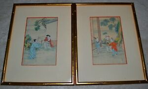 Pair Antique Chinese Silk Paintings Figures In Landscapes Framed Under Glass
