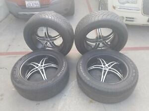 Set Of 4 20 Inch 2 Crave Black Diamond Rims With Tires Bolt Pattern 5 X4 1 2