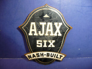 Vintage 1925 1926 Ajax Six Nash Built Radiator Emblem Badge Ct27