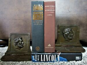 Antique Bronze Cast Iron Abraham Lincoln Bookends Victorian Brass Holder Rack