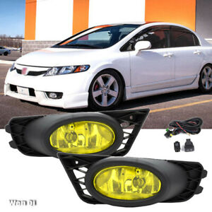 For 2009 2011 Honda Civic 4dr Sedan Yellow Lens Driving Fog Lights Switch Set
