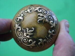 Original Heavy Antique Brass Full Size Victorian Ornate Door Knob