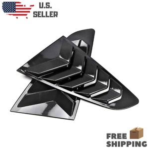 Pair Carbon Fiber Rear Window Louvers Quarter Side Scoop Ford Mustang 2015 2020