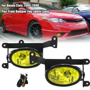 For 2006 2008 Honda Civic Coupe Jdm Yellow Bumper Fog Lights Pair Switch