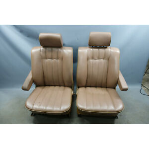 1984 1988 Bmw E28 5 Series Front Electric Comfort Seat Pair Lama Leather Oem