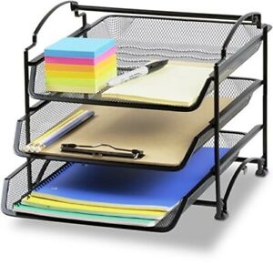 3tier Stackable Desktop Document Letter Tray Organizer Letter A4 Paper Black New