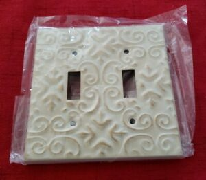 Vintage Double Gang Toggle Light Switch Wall Plate Cover Victorian Style Nos