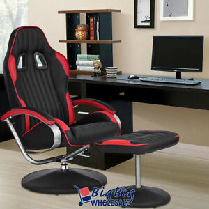 Recliner Chair Racing Bucket Seat Living Room Pu Leather W footrest Ottoman
