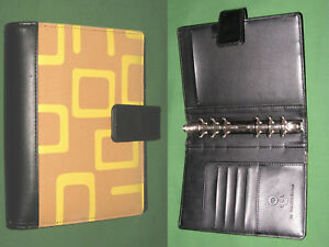 Compact 1 0 Orange Fabric Black S Leather Binder Franklin Covey 365 Planner