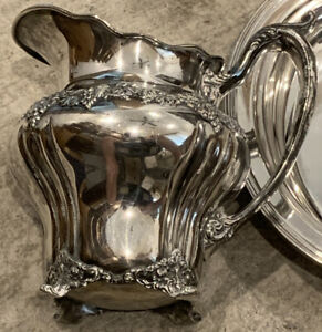Ornate C1900 Derby Silver Grapes Footed Water Pitcher Heavy