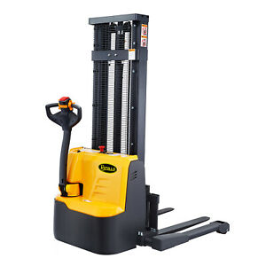 118 High Fully Powered electric Straddle Stacker With 3300lbs Cap