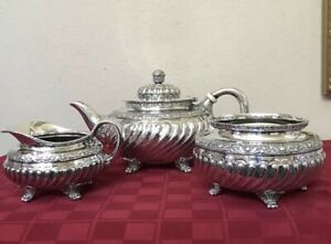 Antique Tiffany Co Sterling Tea Set Teapot Sugar Creamer Persian Manner C1891