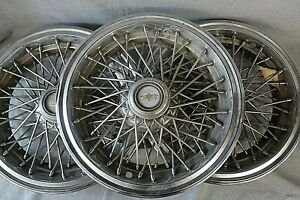 3 Chevy Caprice 15 Inch Locking Wire Spoke Hubcap Wheel Cover 1986 1996