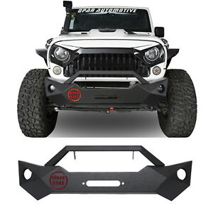 Stubby Front Bumper W Winch Plate 1941 Lamp For 07 18 Jeep Wrangler Jk