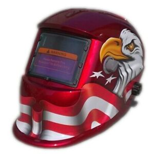 Miller Digital Elite Welding Helmet In Glossy Red Color With White Eagle Graphic