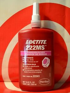 Loctite 222ms 250ml Low Strength Thread Locker Exp 10 21 22241 Free Shipping