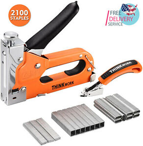 3 in 1 Staple Gun Nailer Gun With 2100 Staples Stapler Remover Manual Stapler