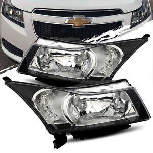 For 10 15 Chevy Cruze Black Crystal Headlights Lamps Lh Rh Assembly Replacement