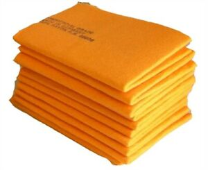 Ten 10 Orange Synthetic Fast Drying Absorbing Chamois Shammy Towel Cloth 27 X 19