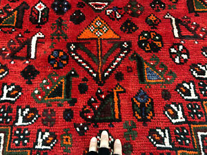 7x10 Red Vintage Tribal Rug Hand Knotted Antique Wool Charcoal Black Handmade