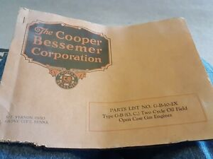 Cooper Bessemer Two Cycle Oil Field Gas Engine Hit Miss 10 To 30 Horse 1932 Book