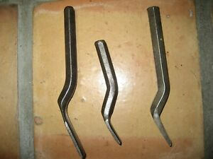 Lot Of 3 Metal Working Spoons Tools Straight And Curved