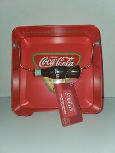 Coca Cola Napkin Holder w/ Weighted Coke Bottle Metal 6.5