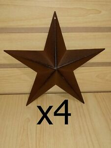 Set Of 4 Rusty 8 Metal Barn Stars Primitive Decorate Crafting Star New