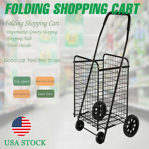Utility Shopping Cart Foldable Jumbo Basket Outdoor Grocery Laundry W Wheels Bk
