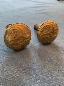 Pair Antique Door Knobs Brass Copper Ornate Gothic Victorian