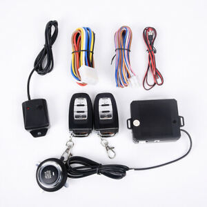 Car Keyless Entry Engine Start Alarm System Push Button Remote Starter For Cars