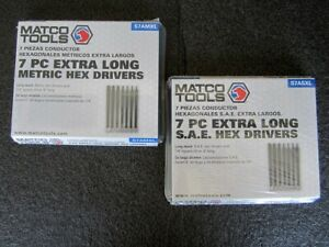 New Matco 1 4 Drive 7pc Sae 7pc Metric Extra Long Hex Drivers S7asxl S7amxl