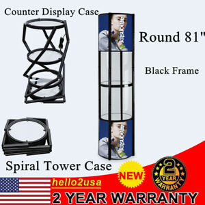 Round 81 Spiral Tower Counter Display Case Rack Stand With Shelves Panels Black