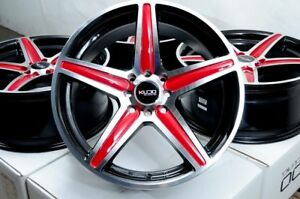 16x7 Red Black Wheels Rims 5x100 5x114 3 Fit Subaru Forester Tribeca Camry Civic