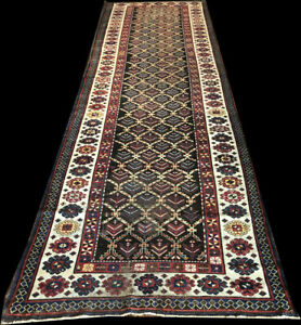Antique Worn Out 14 Long Worn Out Caucasian Talish Hallway Runner Rug