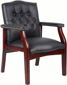 Classic Traditional Tutton Tufted Office Executive Guest Chair In Black Leather
