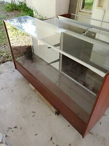 3 Used 6 Full Vision Walnut Retail Glass Display Case Showcase