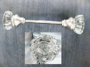 Antique Vintage Glass Chrystal 12 Point Door Knob With Long Mount