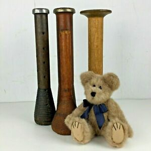 Set 4 Vintage Wood Thread Spool Spindle Industrial Primitive Decor Wooden Gift