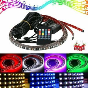 4pc Rgb Led Strip Under Car Tube Underglow Underbody Neon Light 8 Color Lamp Kit