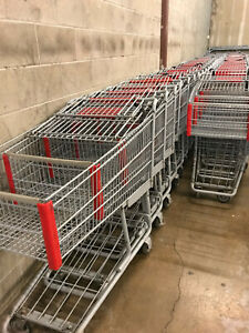 Shopping Carts Lot Of 102 With 5 Corrals Supermarket Grocery Cart 3 5 Cu Ft