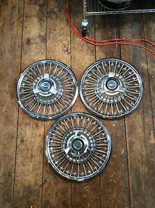 1965 66 67 Ford Mustang Fairlane Galaxie Spinner Wire Hubcaps 14