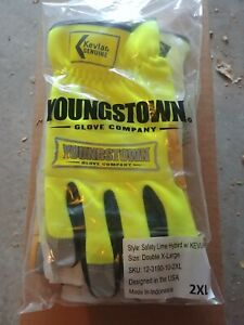 Youngstown Gloves Safety Lime Hybird w Kevlar size XXL $9.99
