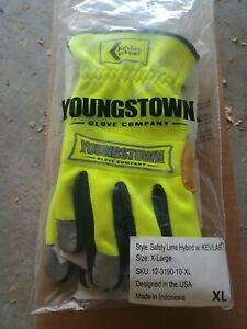 Youngstown Gloves Safety Lime Hybird w Kevlar size extra large $9.99