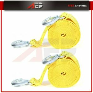 New 2 x20ft Tow Strap 6600lb Capacity Rescue Winch Sling W Hooks 2pcs