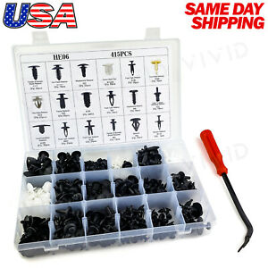 415pc Plastic Rivets Fastener Fender Bumper Push Clips Removal Tool For Chevy
